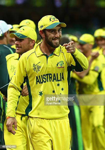 Glenn Maxwell of Australia celebrates victory during the 2015 Cricket World Cup Semi Final match between Australia and India at Sydney Cricket Ground...