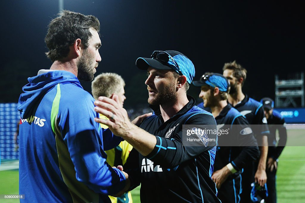 <a gi-track='captionPersonalityLinkClicked' href=/galleries/search?phrase=Glenn+Maxwell&family=editorial&specificpeople=752174 ng-click='$event.stopPropagation()'>Glenn Maxwell</a> of Australia congratulates <a gi-track='captionPersonalityLinkClicked' href=/galleries/search?phrase=Brendon+McCullum&family=editorial&specificpeople=208154 ng-click='$event.stopPropagation()'>Brendon McCullum</a> of the Black Caps after losing the 3rd One Day International cricket match between the New Zealand Black Caps and Australia at Seddon Park on February 8, 2016 in Hamilton, New Zealand.