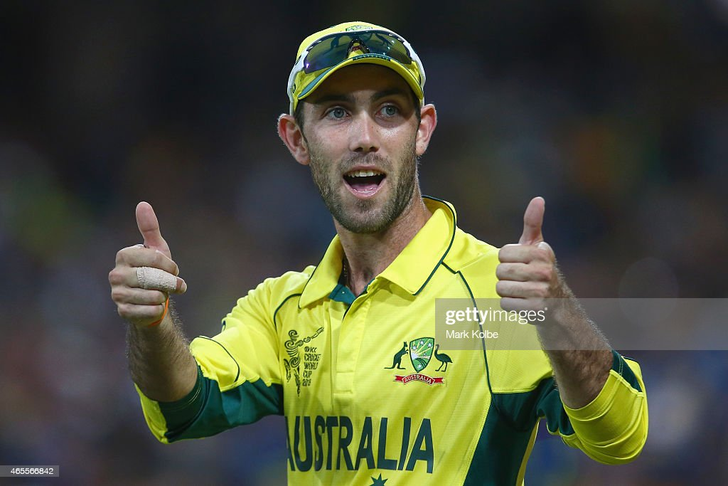 <a gi-track='captionPersonalityLinkClicked' href=/galleries/search?phrase=Glenn+Maxwell&family=editorial&specificpeople=752174 ng-click='$event.stopPropagation()'>Glenn Maxwell</a> of Australia gestures to the crowd during the 2015 ICC Cricket World Cup match between Australia and Sri Lanka at Sydney Cricket Ground on March 8, 2015 in Sydney, Australia.