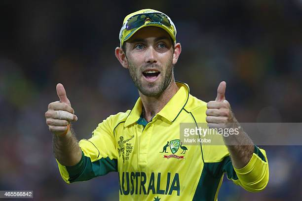 Glenn Maxwell of Australia gestures to the crowd during the 2015 ICC Cricket World Cup match between Australia and Sri Lanka at Sydney Cricket Ground...