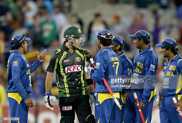 Glenn Maxwell of Australia has words with the Sri Lankan team after the final ball of the game during game two of the Twenty20 International series...
