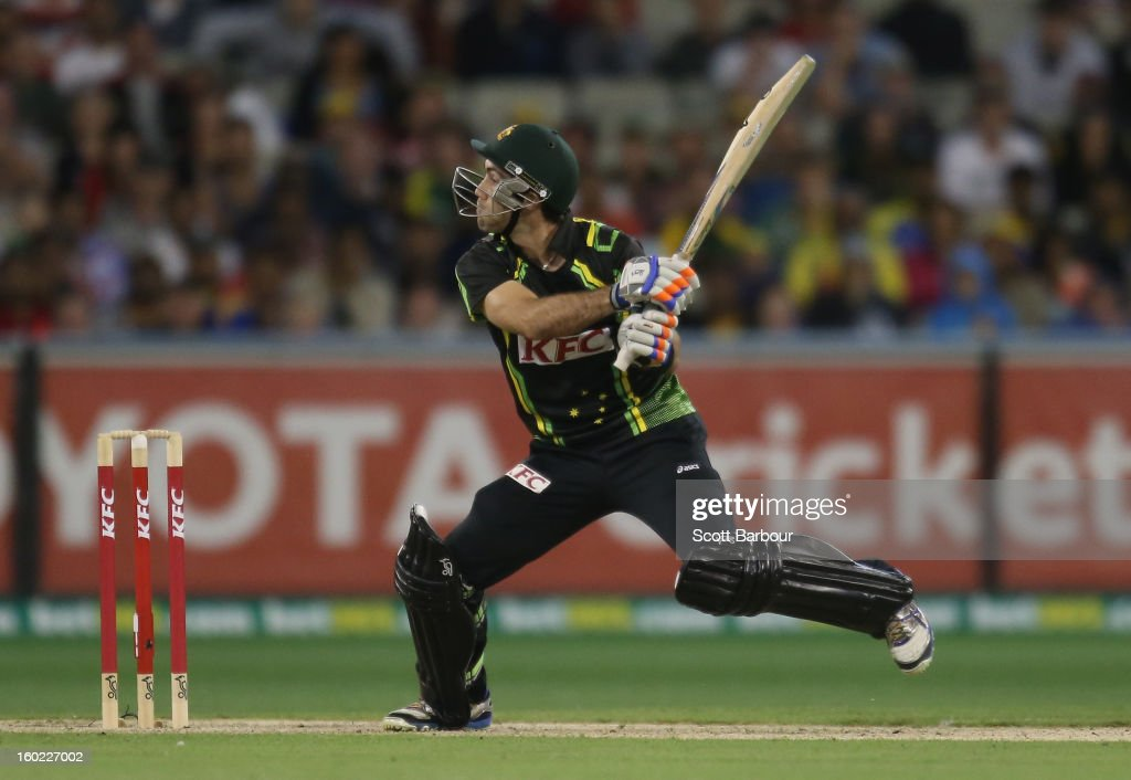 Glenn Maxwell of Australia hits a boundary in the final over during game two of the Twenty20 International series between Australia and Sri Lanka at the Melbourne Cricket Ground on January 28, 2013 in Melbourne, Australia.
