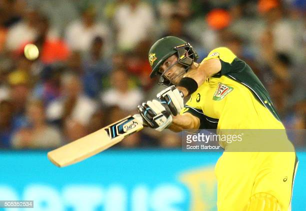 Glenn Maxwell of Australia hits a six during game three of the One Day International Series between Australia and India at the Melbourne Cricket...