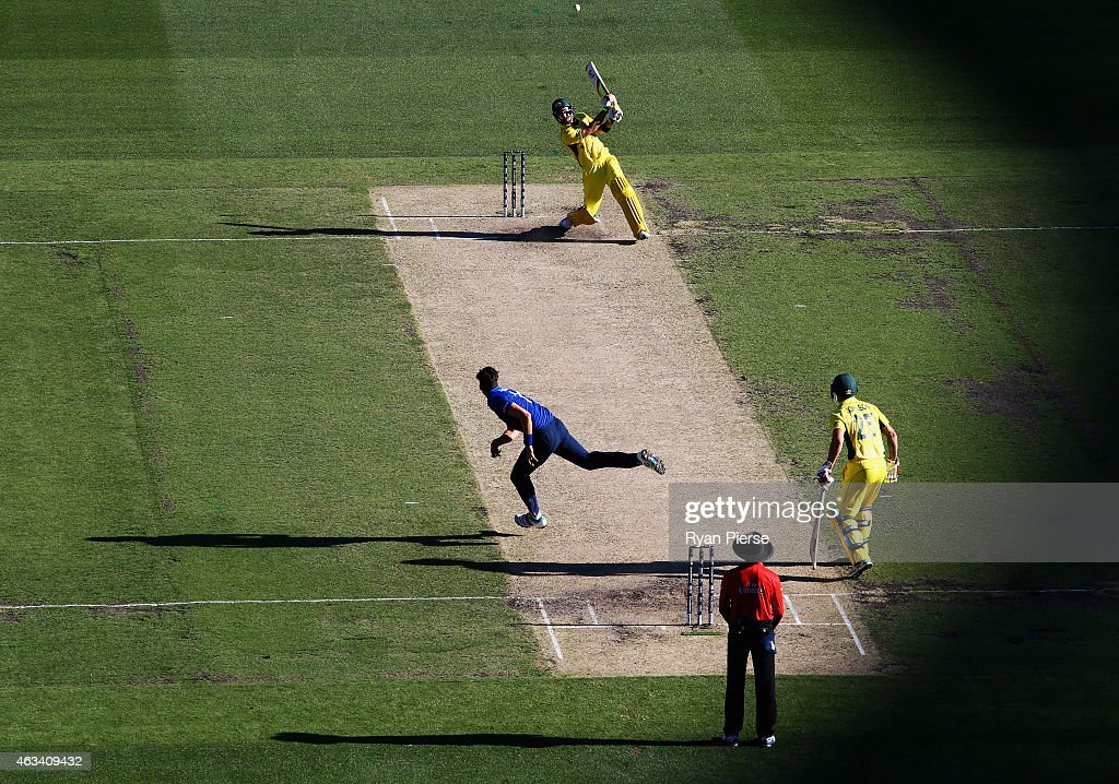 <a gi-track='captionPersonalityLinkClicked' href=/galleries/search?phrase=Glenn+Maxwell&family=editorial&specificpeople=752174 ng-click='$event.stopPropagation()'>Glenn Maxwell</a> of Australia hits down the ground off the bowling of <a gi-track='captionPersonalityLinkClicked' href=/galleries/search?phrase=Steven+Finn+-+Cricketer&family=editorial&specificpeople=7843917 ng-click='$event.stopPropagation()'>Steven Finn</a> of England during the 2015 ICC Cricket World Cup match between England and Australia at Melbourne Cricket Ground on February 14, 2015 in Melbourne, Australia.