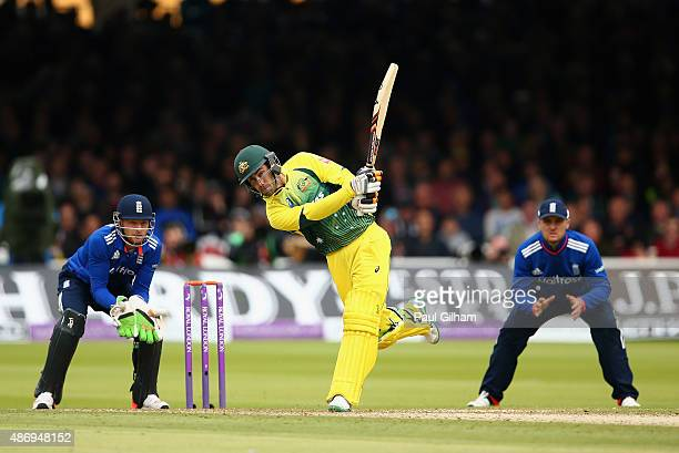 Glenn Maxwell of Australia hits out during the 2nd Royal London OneDay International match between England and Australia at Lord's Cricket Ground on...