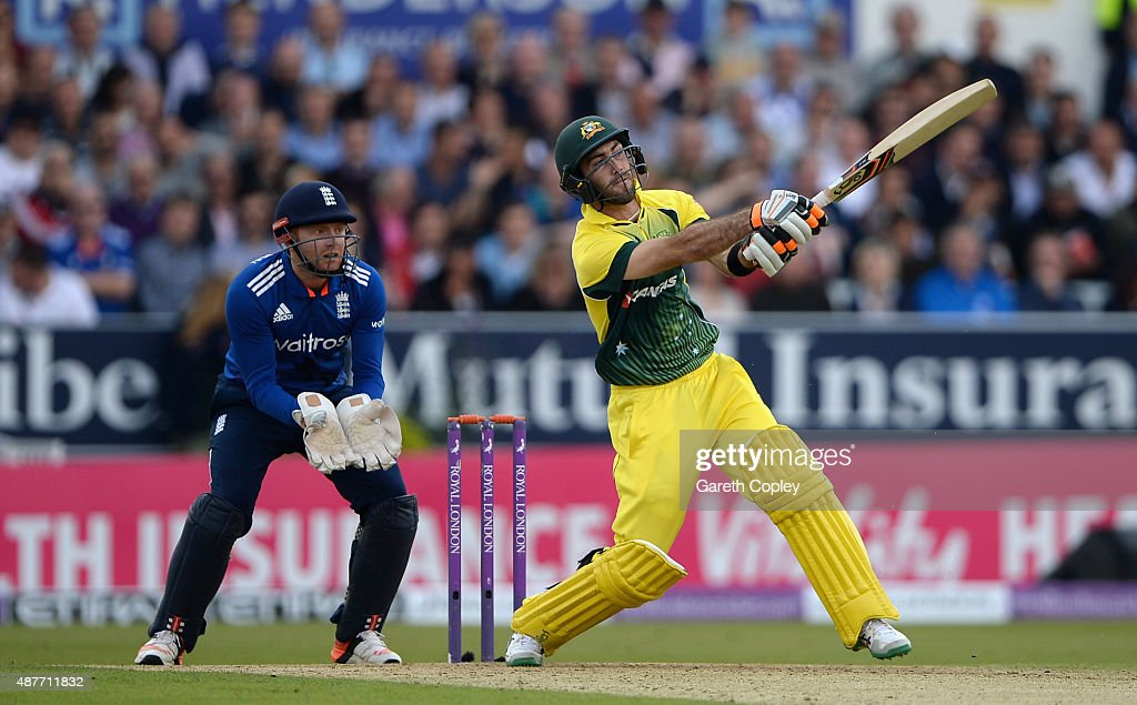 Glenn Maxwell of Australia hots out for six runs during the 4th Royal London OneDay International match between England and Australia at Headingley...