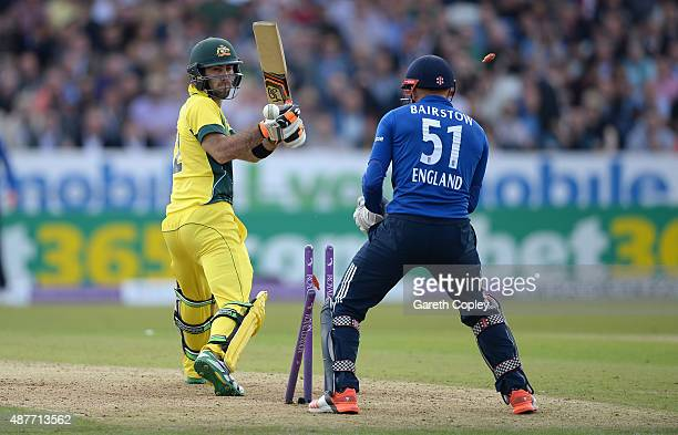 Glenn Maxwell of Australia is bowled by Moeen Ali of England during the 4th Royal London OneDay International match between England and Australia at...