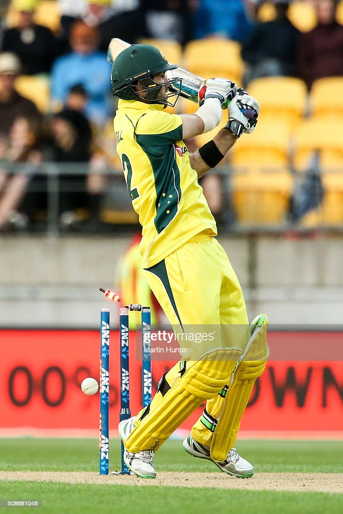 Glenn Maxwell of Australia is bowled by Trent Boult of New Zealand during game two of the one day international series between New Zealand and Australia at Westpac Stadium on February 6, 2016 in Wellington, New Zealand.