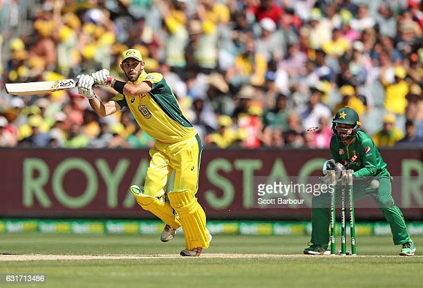 Glenn Maxwell of Australia is bowled out by Imad Wasim of Pakistan during game two of the One Day International series between Australia and Pakistan...