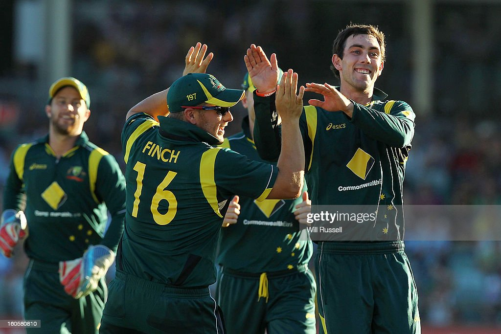 <a gi-track='captionPersonalityLinkClicked' href=/galleries/search?phrase=Glenn+Maxwell&family=editorial&specificpeople=752174 ng-click='$event.stopPropagation()'>Glenn Maxwell</a> of Australia is congratulated by team-mate <a gi-track='captionPersonalityLinkClicked' href=/galleries/search?phrase=Aaron+Finch+-+Cricket+Player&family=editorial&specificpeople=724040 ng-click='$event.stopPropagation()'>Aaron Finch</a> after bowling Darren Sammy of the West Indies during game two of the Commonwealth Bank One Day International Series between Australia and the West Indies at WACA on February 3, 2013 in Perth, Australia.