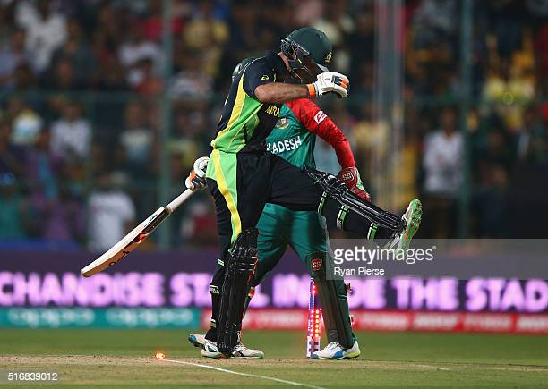 Glenn Maxwell of Australia looks dejected after being stumped by Mushfiqur Rahim of Bangladesh during the ICC World Twenty20 India 2016 Super 10s...