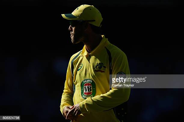 Glenn Maxwell of Australia looks on during game three of the One Day International Series between Australia and India at Melbourne Cricket Ground on...