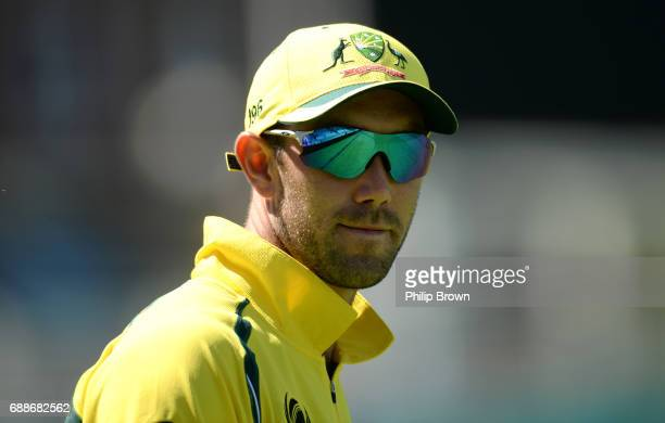 Glenn Maxwell of Australia looks on during the ICC Champions Trophy Warmup match between Australia and Sri Lanka at the Kia Oval cricket ground on...