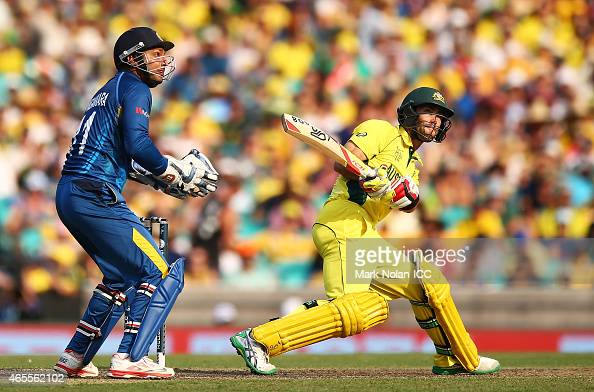 Glenn Maxwell of Australia plays a reverse sweep to the boundary during the 2015 ICC Cricket World Cup match between Australia and Sri Lanka at...