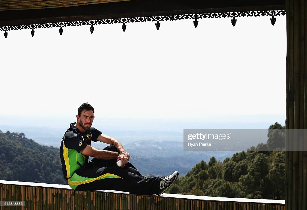 <a gi-track='captionPersonalityLinkClicked' href=/galleries/search?phrase=Glenn+Maxwell&family=editorial&specificpeople=752174 ng-click='$event.stopPropagation()'>Glenn Maxwell</a> of Australia poses during an Australian portrait session ahead of the ICC 2016 Twenty20 World Cup on March 16, 2016 in Dharamsala, India.