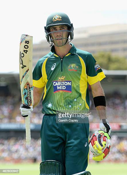 Glenn Maxwell of Australia salutes the crowd as he leaves the field during the final match of the Carlton Mid One Day International series between...