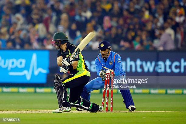 Glenn Maxwell of Australia stumped by Mahendra Dhoni of India during the International Twenty20 match between Australia and India at Melbourne...