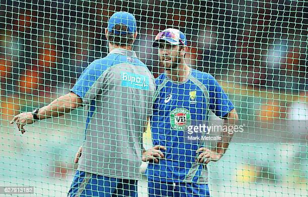 Glenn Maxwell of Australia talks to Australia's batting coach Graeme Hick before game two of the One Day International series between Australia and...