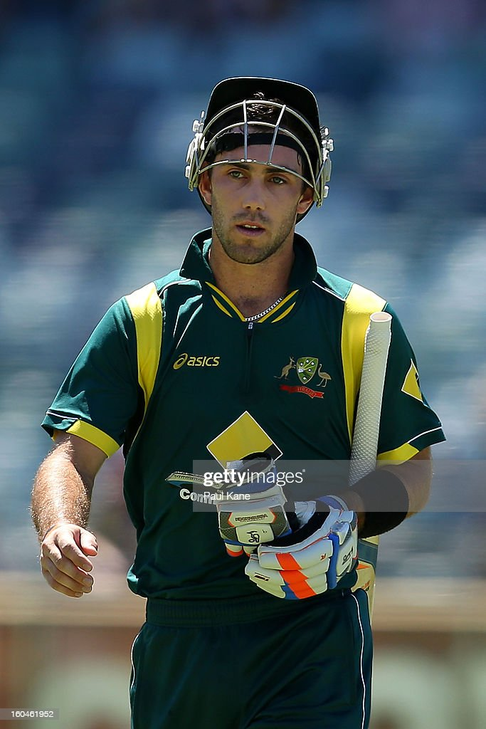 <a gi-track='captionPersonalityLinkClicked' href=/galleries/search?phrase=Glenn+Maxwell&family=editorial&specificpeople=752174 ng-click='$event.stopPropagation()'>Glenn Maxwell</a> of Australia walks from the field after winning game one of the Commonwealth Bank One Day International Series between Australia and the West Indies at WACA on February 1, 2013 in Perth, Australia.