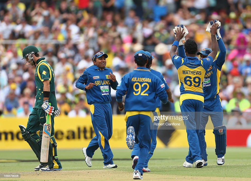 Glenn Maxwell of Australia walks from the ground after he was dismissed by Angelo Mathews of Sri Lanka during game two of the Commonwealth Bank One Day International series between Australia and Sri Lanka at Adelaide Oval on January 13, 2013 in Adelaide, Australia.