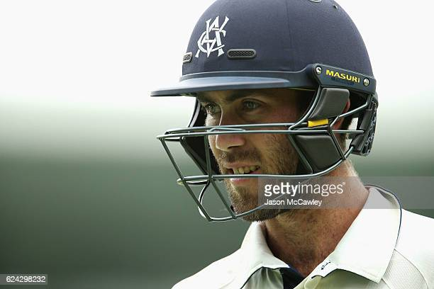 Glenn Maxwell of the Bushrangers walks back to the pavilion after being dismissed by Steve O'Keefe of the Blues during day three of the Sheffield...