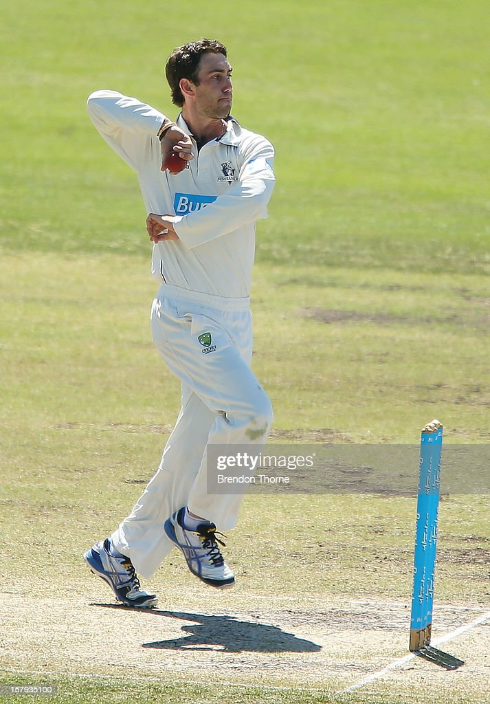 <a gi-track='captionPersonalityLinkClicked' href=/galleries/search?phrase=Glenn+Maxwell&family=editorial&specificpeople=752174 ng-click='$event.stopPropagation()'>Glenn Maxwell</a> of the Chairman's XI bowls during day three of the international tour match between the Chairman's XI and Sri Lanka at Manuka Oval on December 8, 2012 in Canberra, Australia.