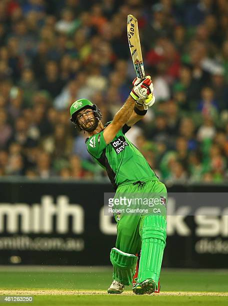 Glenn Maxwell of the Melbourne Stars hits a six during the Big Bash League match between the Melbourne Stars and the Melbourne Renegades at Melbourne...