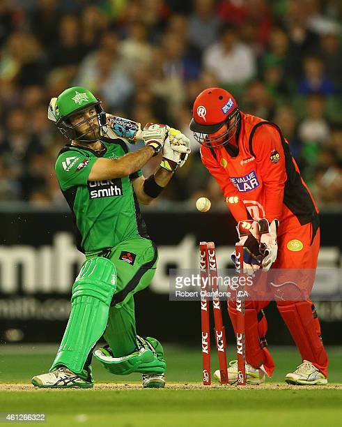 Glenn Maxwell of the Melbourne Stars is bowled out by Fawad Ahmed of the Melbourne Renegades during the Big Bash League match between the Melbourne...