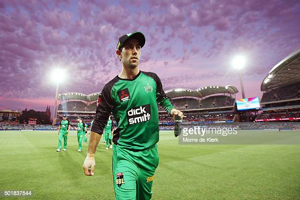 Glenn Maxwell of the Melbourne Stars leaves the field the innings break during the Big Bash League match between the Adelaide Strikers and the...