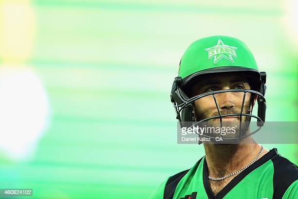 Glenn Maxwell of the Melbourne Stars reacts after being dismissed during the Big Bash League match between the Adelaide Strikers and Melbourne Stars...