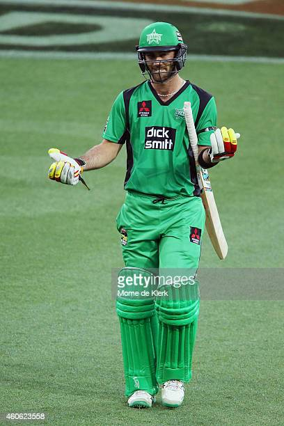 Glenn Maxwell of the Melbourne Stars reacts after getting out to Adam Zampa of the Adelaide Strikers during the Big Bash League match between the...