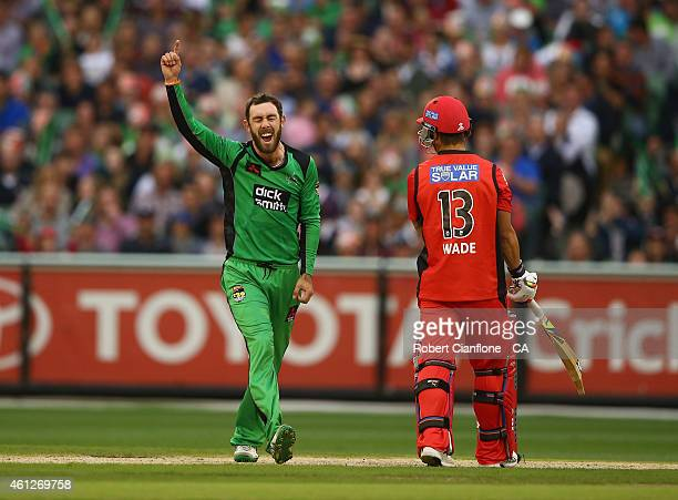 Glenn Maxwell of the Melbourne Stars takes the wicket of Callum Ferguson of the Melbourne Renegades during the Big Bash League match between the...