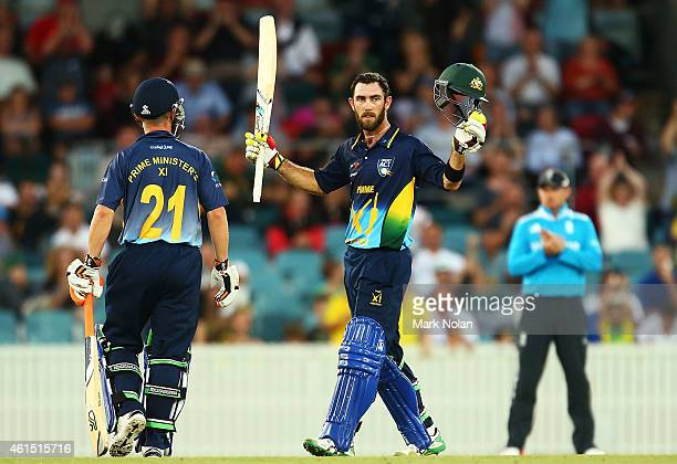 Glenn Maxwell of the PMs XI celebrates his century during the tour match between the Prime Ministers XI and England at Manuka Oval on January 14 2015...