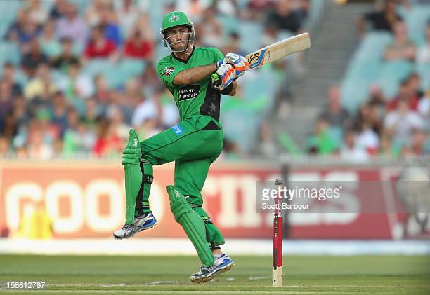 Glenn Maxwell of the Stars bats during the Big Bash League match between the Melbourne Stars and the Sydney Sixers at Melbourne Cricket Ground on...