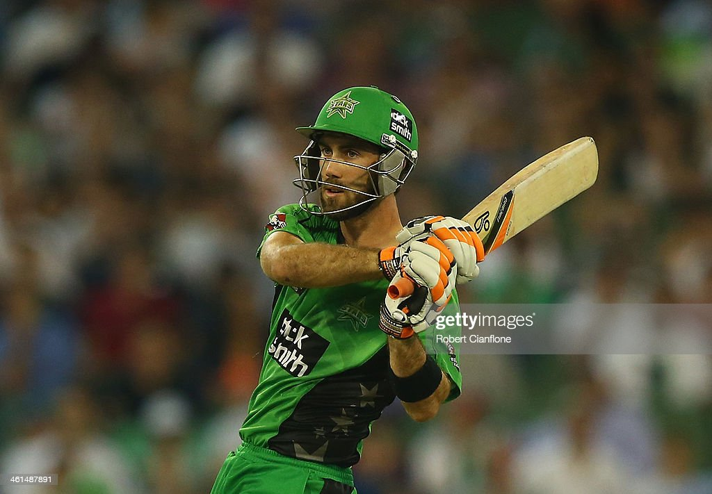 <a gi-track='captionPersonalityLinkClicked' href=/galleries/search?phrase=Glenn+Maxwell&family=editorial&specificpeople=752174 ng-click='$event.stopPropagation()'>Glenn Maxwell</a> of the Stars bats during the Big Bash League match between the Melbourne Stars and the Adelaide Strikers at the Melbourne Cricket Ground on January 9, 2014 in Melbourne, Australia.