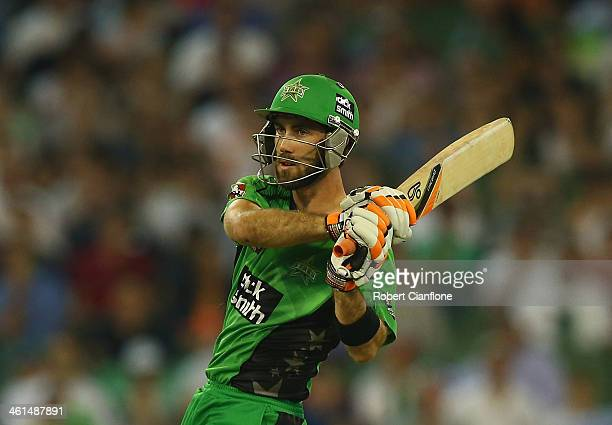 Glenn Maxwell of the Stars bats during the Big Bash League match between the Melbourne Stars and the Adelaide Strikers at the Melbourne Cricket...