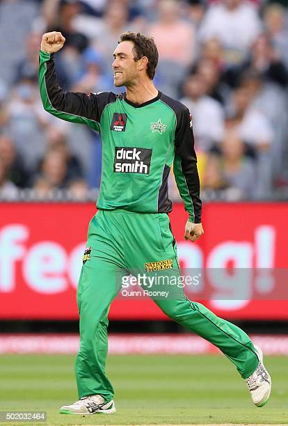 Glenn Maxwell of the Stars celebrates after taking the wicket of Mike Hussey of the Thunder during the Big Bash League match between Melbourne Stars...