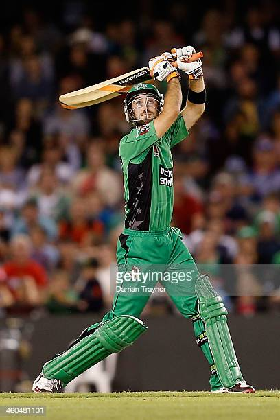 Glenn Maxwell of the Stars hits a ball for 6 during the Big Bash League match between the Melbourne Renegades and the Melbourne Stars at Etihad...
