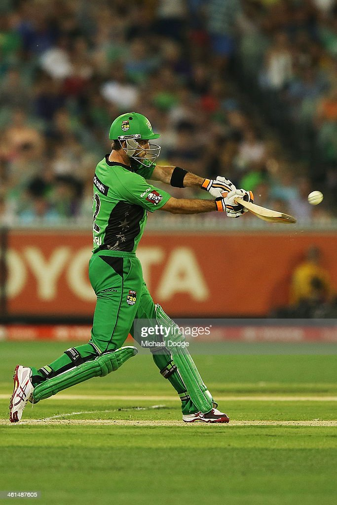 <a gi-track='captionPersonalityLinkClicked' href=/galleries/search?phrase=Glenn+Maxwell&family=editorial&specificpeople=752174 ng-click='$event.stopPropagation()'>Glenn Maxwell</a> of the Stars hits a boundary during the Big Bash League match between the Melbourne Stars and the Adelaide Strikers at the Melbourne Cricket Ground on January 9, 2014 in Melbourne, Australia.