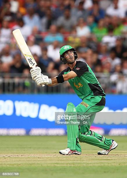 Glenn Maxwell of the Stars hits for six during the Big Bash League match between the Sydney Thunder and Melbourne Stars at Spotless Stadium on...