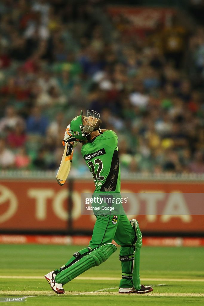 <a gi-track='captionPersonalityLinkClicked' href=/galleries/search?phrase=Glenn+Maxwell&family=editorial&specificpeople=752174 ng-click='$event.stopPropagation()'>Glenn Maxwell</a> of the Stars hits the winning runs with a six during the Big Bash League match between the Melbourne Stars and the Adelaide Strikers at the Melbourne Cricket Ground on January 9, 2014 in Melbourne, Australia.