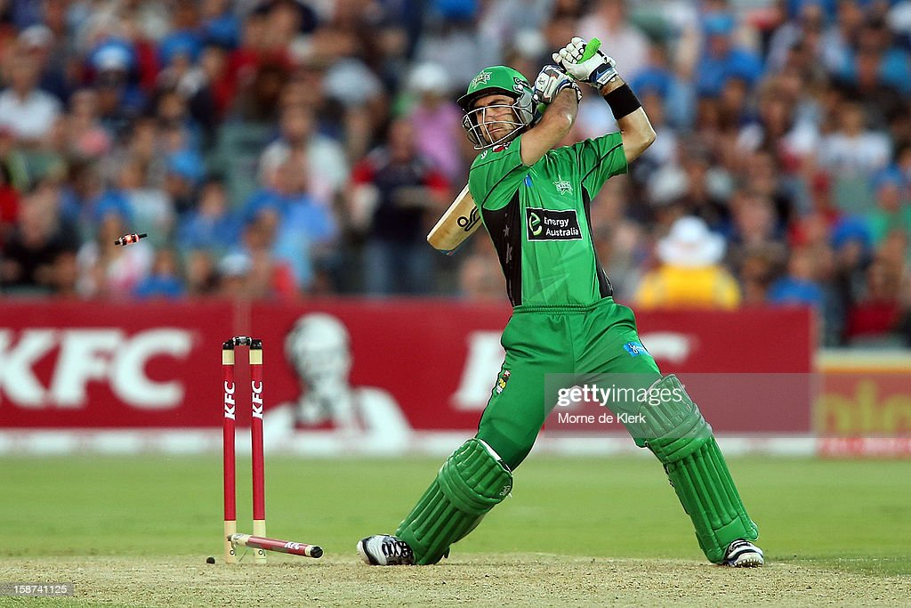 <a gi-track='captionPersonalityLinkClicked' href=/galleries/search?phrase=Glenn+Maxwell&family=editorial&specificpeople=752174 ng-click='$event.stopPropagation()'>Glenn Maxwell</a> of the Stars is bowled out during the Big Bash League match between the Adelaide Strikers and the Melbourne Stars at Adelaide Oval on December 27, 2012 in Adelaide, Australia.
