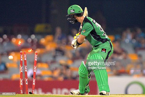 Glenn Maxwell of the Stars is clean bowed off the bowling of Ryan Duffield of the Heat during the Big Bash League match between the Brisbane Heat and...