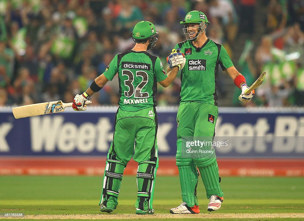 Glenn Maxwell of the Stars is congratulated by Kevin Pietersen after reaching 50 runs during the Big Bash League match between the Melbourne Stars...