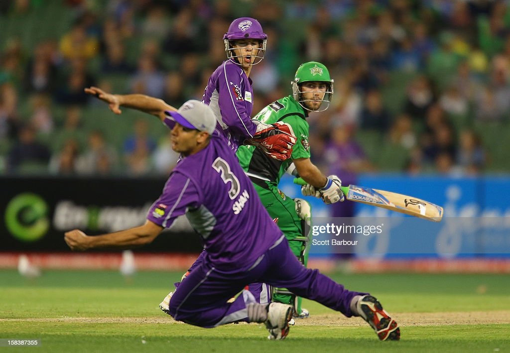 <a gi-track='captionPersonalityLinkClicked' href=/galleries/search?phrase=Glenn+Maxwell&family=editorial&specificpeople=752174 ng-click='$event.stopPropagation()'>Glenn Maxwell</a> of the Stars is dropped by <a gi-track='captionPersonalityLinkClicked' href=/galleries/search?phrase=Owais+Shah&family=editorial&specificpeople=227194 ng-click='$event.stopPropagation()'>Owais Shah</a> of the Hurricanes during the Big Bash League match between the Melbourne Stars and the Hobart Hurricanes at the Melbourne Cricket Ground on December 15, 2012 in Melbourne, Australia.