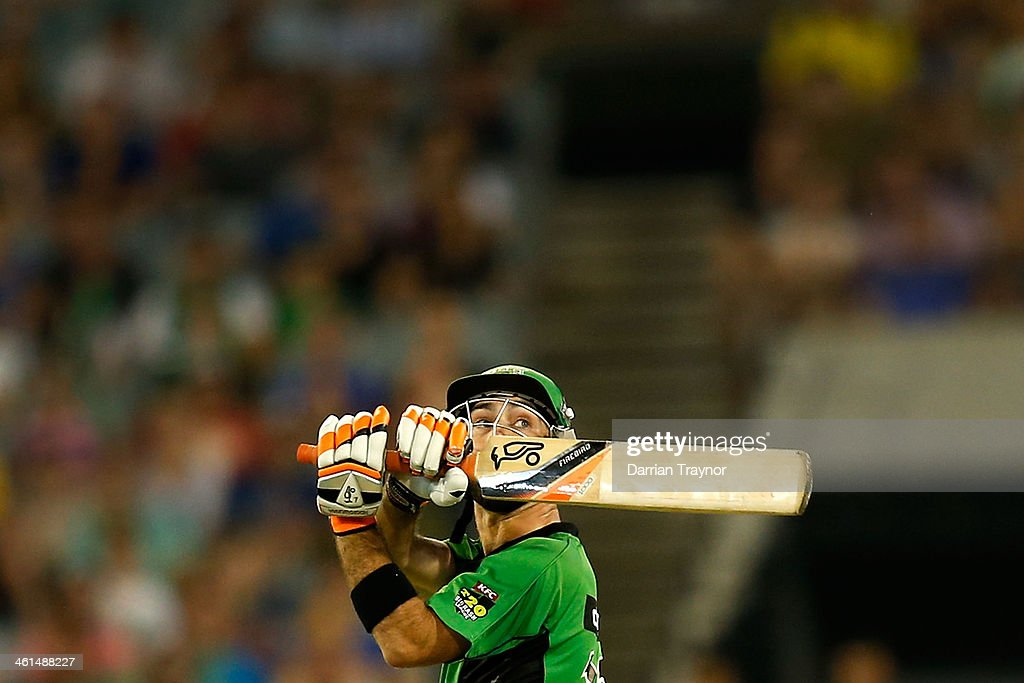<a gi-track='captionPersonalityLinkClicked' href=/galleries/search?phrase=Glenn+Maxwell&family=editorial&specificpeople=752174 ng-click='$event.stopPropagation()'>Glenn Maxwell</a> of the Stars plays a big shot during the Big Bash League match between the Melbourne Stars and the Adelaide Strikers at Melbourne Cricket Ground on January 9, 2014 in Melbourne, Australia.