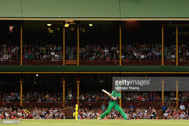Glenn Maxwell of the Stars plays a reverse flick during the Big Bash League match between the Sydney Sixers and the Melbourne Stars at SCG on...