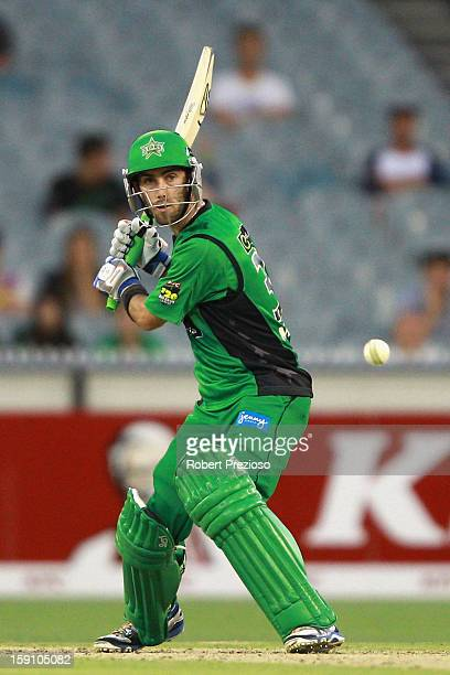 Glenn Maxwell of the Stars plays a shot during the Big Bash League match between the Melbourne Stars and the Sydney Thunder at Melbourne Cricket...