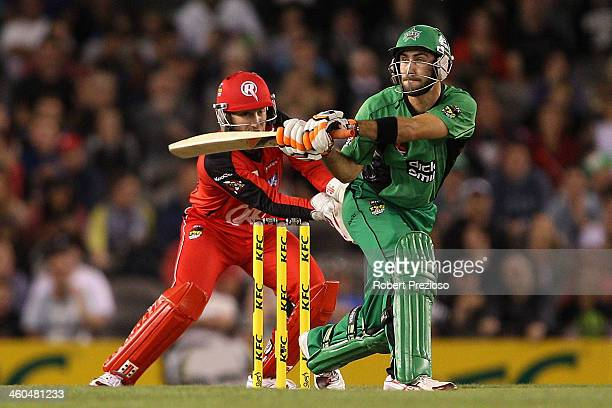Glenn Maxwell of the Stars plays a shot during the Big Bash League match between the Melbourne Renegades and the Melbourne Stars at Etihad Stadium on...