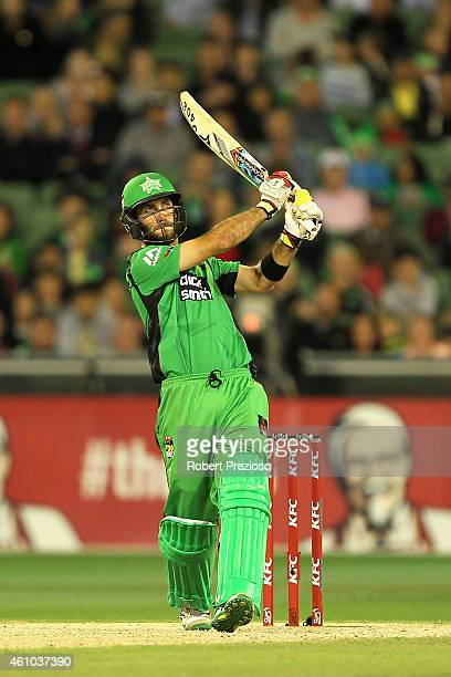 Glenn Maxwell of the Stars plays a shot during the Big Bash League match between the Melbourne Stars and the Sydney Sixers at Melbourne Cricket...